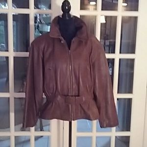 Brandon Thomas cognac leather moto jacket